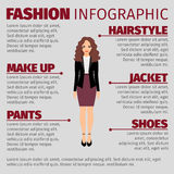 Woman in purple skirt fashion infographic. Fashion infographic with long haired woman in a purple skirt. Vector illustration Royalty Free Stock Photography