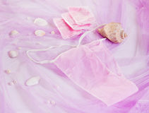 Woman purple spa disposable panties for depilation Royalty Free Stock Images