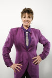 Woman in purple suit. Royalty Free Stock Photos