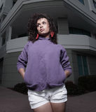Woman in a purple sweater Stock Photo