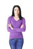 Woman in purple sweater with arms folded Royalty Free Stock Images