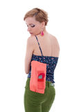 Woman with purse in back pocket Royalty Free Stock Photography