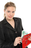 Woman with purse and money Royalty Free Stock Photo