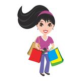 Woman with purse and shopping bags. Pretty and happy young woman with purse and shopping bags in her hands. She has shopped at the market,  store, or mall Stock Photos