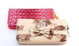 Woman purses. Pic of brown and pink woman purses Royalty Free Stock Images