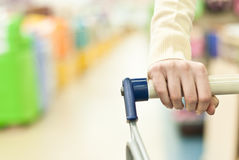 Woman and push cart Stock Image