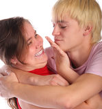 Woman push young man away Stock Photography