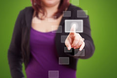Woman pushing the button. Stock Photos