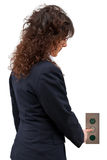 Woman pushing the button of elevator. Business woman pushing the button of elevator stock photo