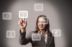 Woman pushing a button on a touch screen interface. Hand presses the virtual button, choose a chat Royalty Free Stock Photography