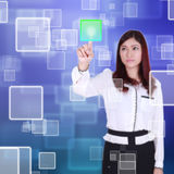 Woman pushing button on a touch screen. Interface Royalty Free Stock Photo