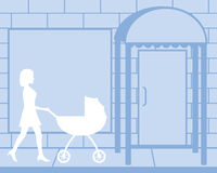 Woman Pushing Carriage Silhouette. A white silhouette of a girl pushing a white baby carriage past a store front Stock Image