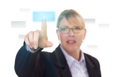 Woman Pushing an Interactive Touch Screen Button Stock Image