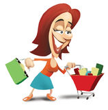 Woman pushing shopping cart. Happy woman with shopping bag pushing full shopping cart Royalty Free Stock Photography