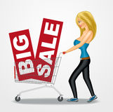 Woman pushing a shopping cart with sale banners. Illustration of a beautiful blond woman pushing a shopping cart with big sale banners Royalty Free Stock Photo