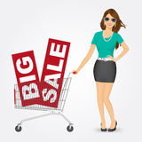 Woman pushing a shopping cart with sale banners. Illustration of a beautiful young woman with sunglasses pushing a shopping cart with big sale banners Stock Photo