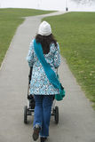 Woman Pushing Stroller In Park. Rear view of young woman walking with baby carriage in park Stock Photography