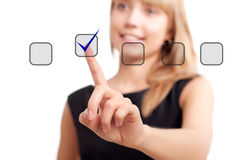 Woman pushing on touch button Stock Photo