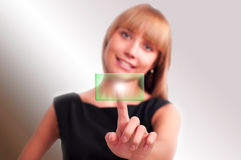 Woman pushing on touch button Stock Photography