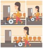 Woman pushing wheelchair. Stock Image
