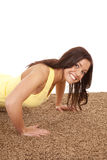 Woman pushup close smile Royalty Free Stock Image