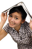 Woman Put Book on Head Stock Photos