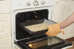 Woman put cookies in stove Royalty Free Stock Photo