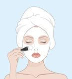 A woman puts a face mask. Woman with a towel on her head,  vector flat illustration for instructions. Hand drawn makeup set Stock Image
