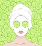 A woman puts a face mask. Woman with a towel on her head, vector flat illustration for instructions. Slices of cucumber lie on the girl's eyes Stock Photos