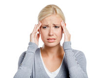 Woman puts hands on the head royalty free stock images