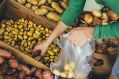 Woman puts a package of new potatoes on the market royalty free stock image
