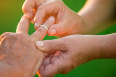 Woman puts ring on man. Hands of old couple. I won't ever leave you. Love is mutual Royalty Free Stock Images