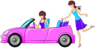 Woman puts shopping bags in the car. Stock Photo