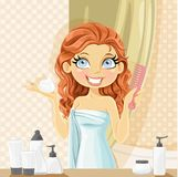 Woman puts wet hair styling mousse in the bathroom Royalty Free Stock Images