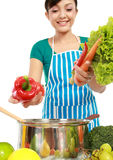 Woman putting a bunch of healthy ingredients Royalty Free Stock Photos