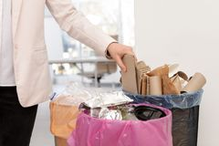 Woman putting cardboard sheet into trash bin in office. Closeup. Waste recycling royalty free stock images