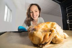 Woman Putting Chicken View From Inside The Oven Royalty Free Stock Photo