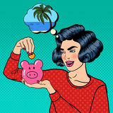 Woman Putting a Coin Into a Money Box. Pop Art Stock Image