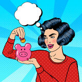 Woman Putting a Coin Into a Money Box. Pop Art Stock Photos