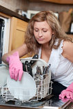 Woman putting dishes in the washing machine Stock Image