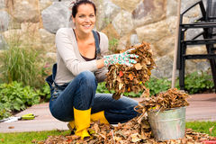 Woman putting leaves in bucket autumn gardening. Smiling woman putting leaves in bucket fall garden housework Royalty Free Stock Images