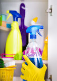 Woman putting spray bottle in pantry Stock Photography
