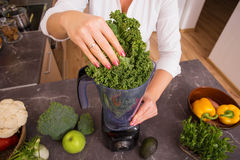 Woman putting vegetable in blender Stock Image