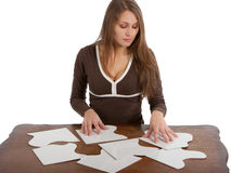 Woman with puzzle cards Stock Photo