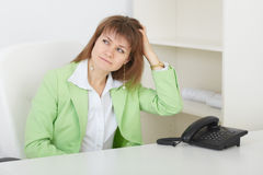 Woman it is puzzled scratches in nape Stock Photo