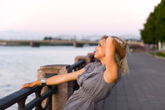 Woman  on a quay. Royalty Free Stock Photos