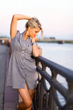 Woman  on a quay. Stock Images