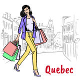 Woman in Quebec. Woman walking on St Jean Street in Quebec, Canada Stock Photos