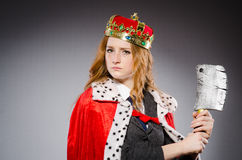 Woman queen businesswoman. With axe Royalty Free Stock Image