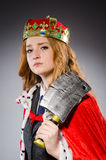 Woman queen businesswoman. With axe Royalty Free Stock Photos